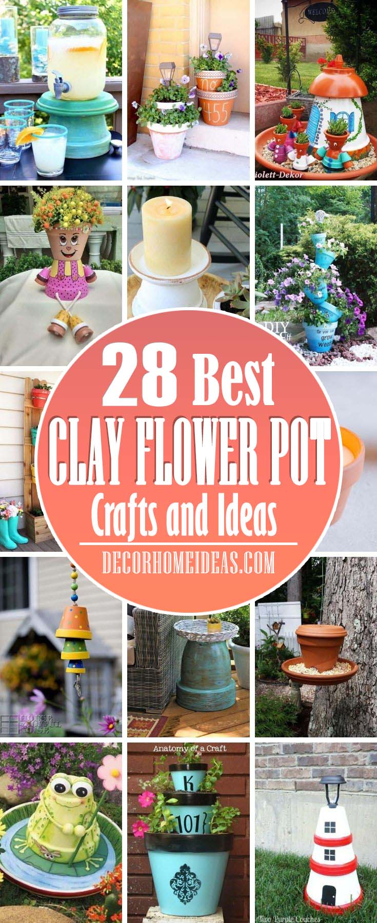 Best Clay Flower Pot Crafts. Simple, easy, and fun clay flower pot crafts and ideas.  Make terra cotta pot crafts for all holidays - Christmas, Halloween, Thanksgiving, Easter, etc. #decorhomeideas