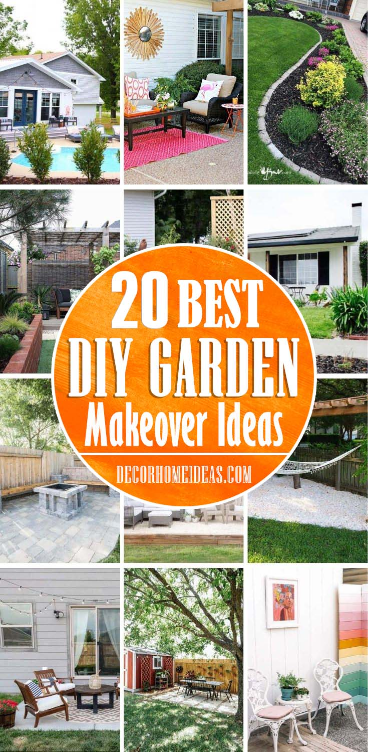 Best Garden Makeover Ideas. Wondering how to design a backyard on a budget? We've got you covered! From homemade fire pits to decorative garden beds and patios, these awesome DIY backyard ideas will give your outdoor living space the ultimate makeover! #decorhomeideas