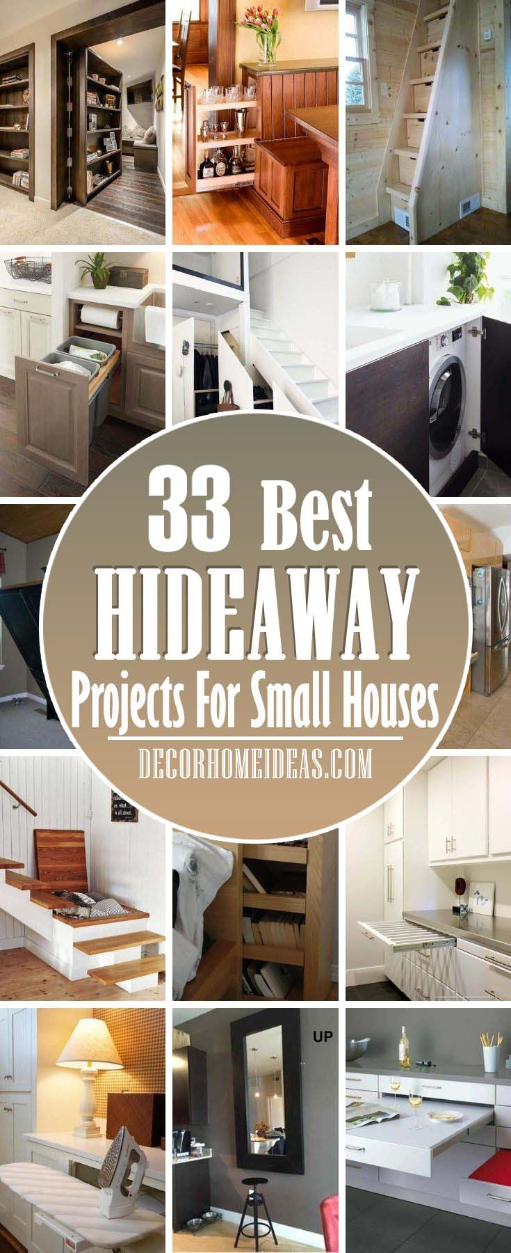 Best Hideaway Projects. Hideaway projects can help you add more storage while keeping the visual design of your interior. #decorhomeideas