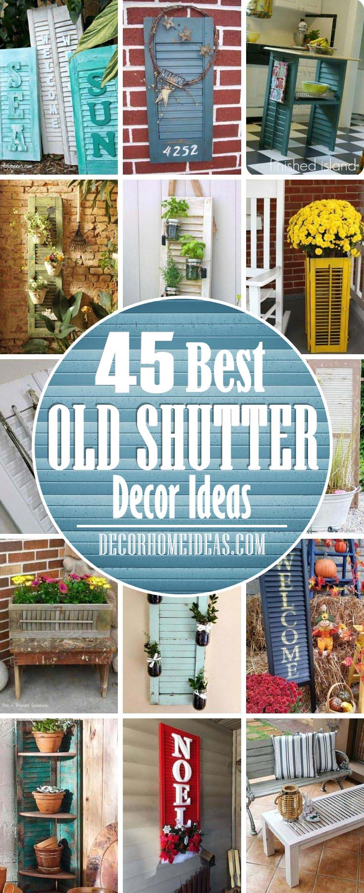 Best Old Shutters Decor Ideas. There are a lot of things that you can make from old shutters - flower pots, coffee table, bench, shelves, planter and even a kitchen island. #decorhomeideas