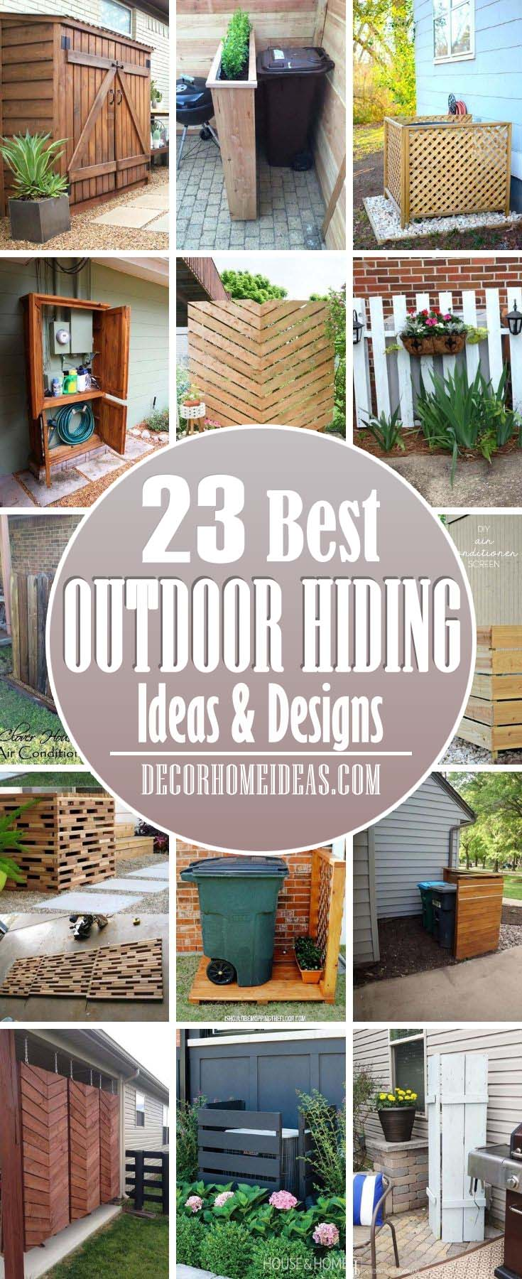 Best Outdoor Hiding Ideas. Check out these tips and tricks to hide your junk and make your backyard look organized and pristine. From A/C , utility boxes and pipes, we've got you covered. #decorhomeideas