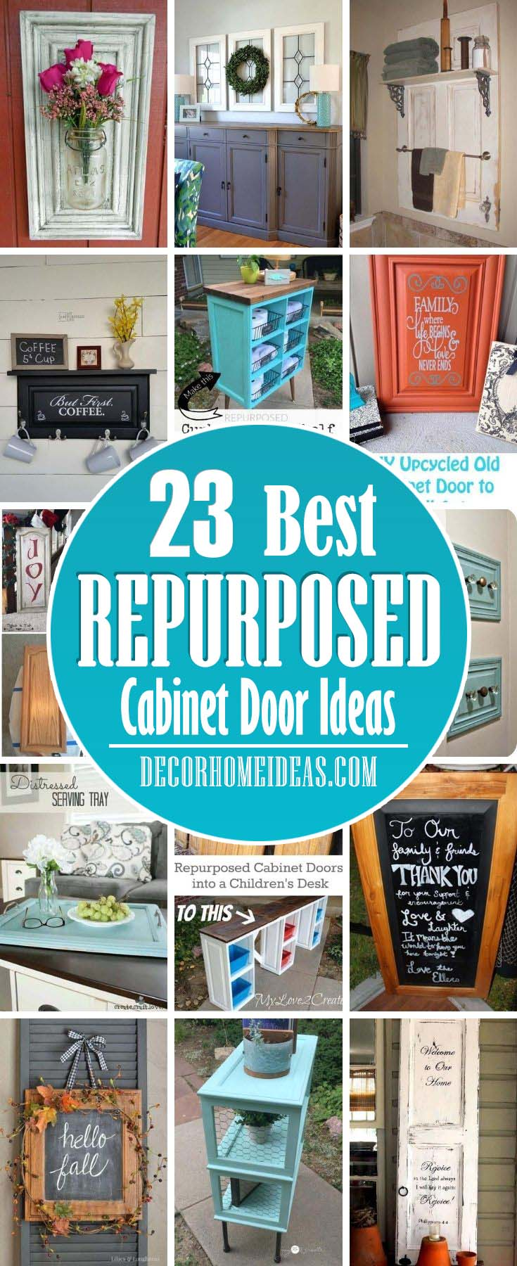 Best Repurposed Cabinet Door Ideas. Before you throw them away, consider a repurposing project; with a bit of creativity, you can transform a cabinet door into a piece that's both functional and beautiful. #decorhomeideas