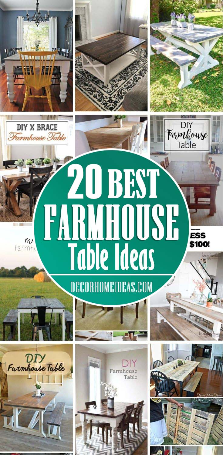 Best Rustic DIY Farmhouse Table Ideas. Looking for DIY farmhouse table ideas? Here are 20 fantastic project ideas and plans to help inspire you to make your own Farmhouse Table.