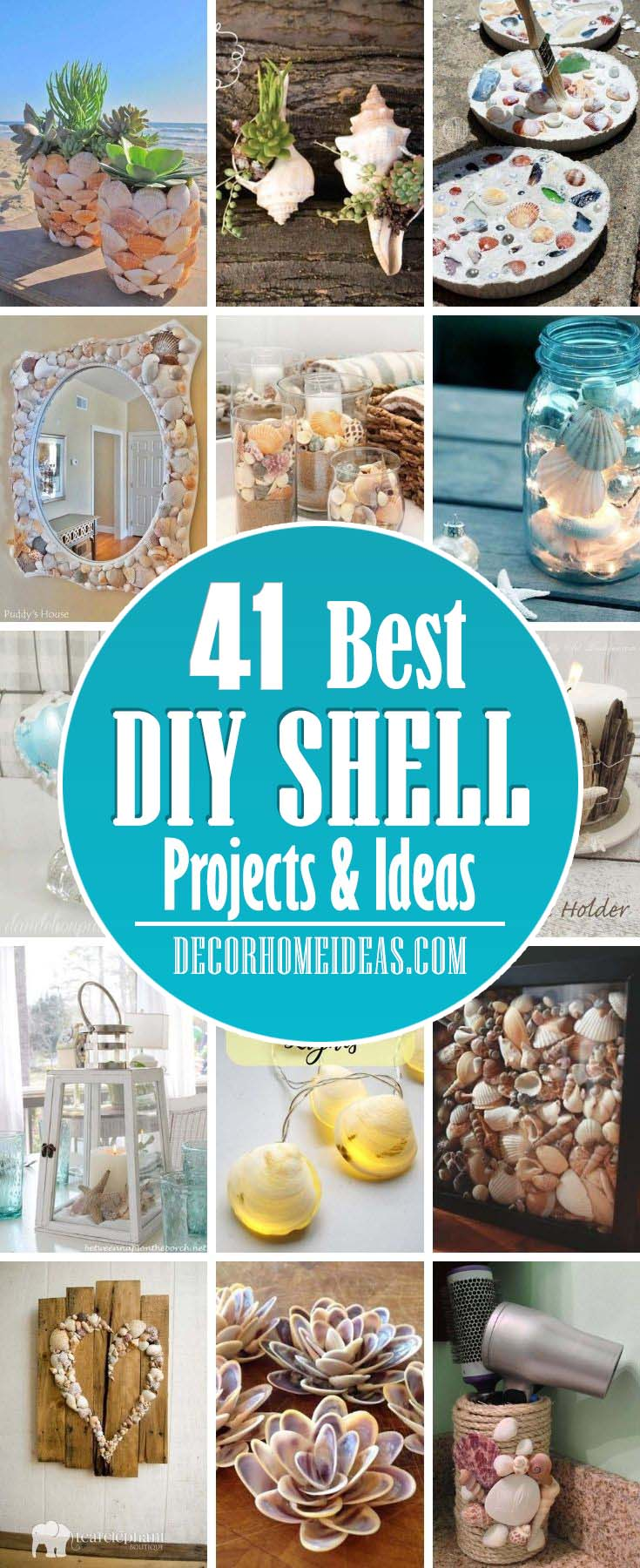 Best Shell Project Ideas. If you are in love with the beach and the ocean you will love these DIY shell projects and ideas that you can do in no time. They are fun and easy to do. #decorhomeideas