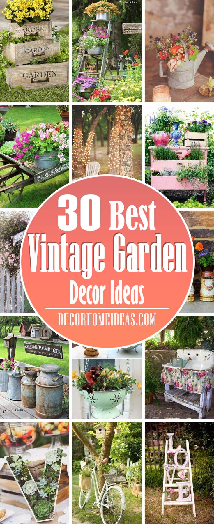 Best Vintage Garden Decor Ideas. Ladders, bicycles. sinks and laddles - there are all great vintage decorations for your garden. Add some vintage flair with these creative ideas. #decorhomeideas