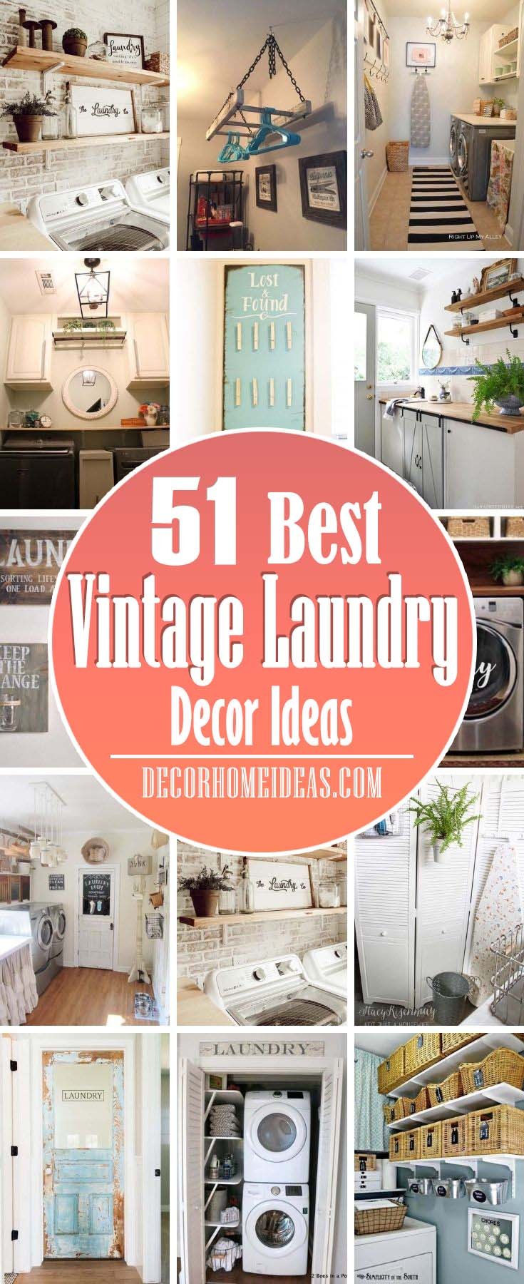 Best Vintage Laundry Decor Ideas. Give your laundry room a vintage look with these decor ideas including baskets, anchor style, clothespins, room signs, retro themed accessories, walls and more. #decorhomeideas