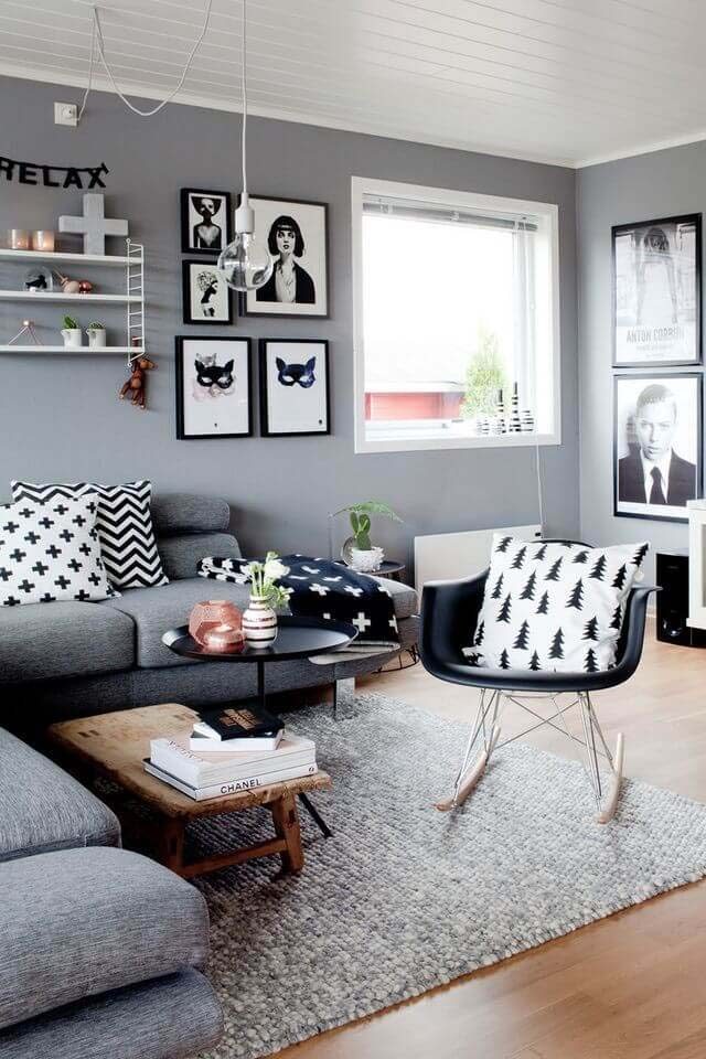 Black, White, and Gray Arrangement #livingroom #design #decorhomeideas
