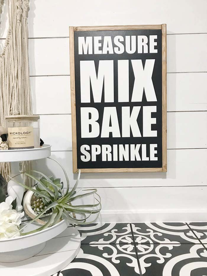 Bold Lettered Kitchen Sign about Baking #farmhouse #sign #decorhomeideas