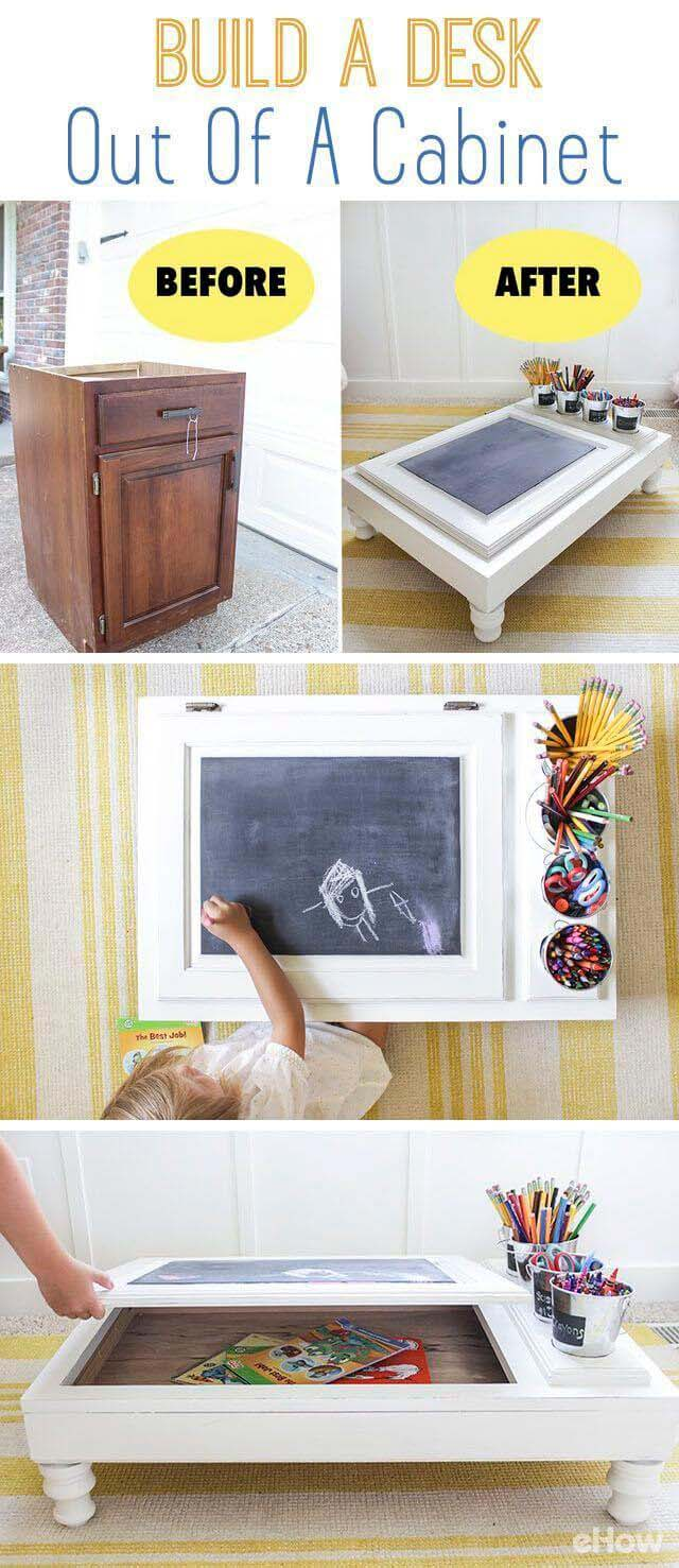 How to Build a Desk Out of Cabinets #repurpose #cabinet #door #decorhomeideas