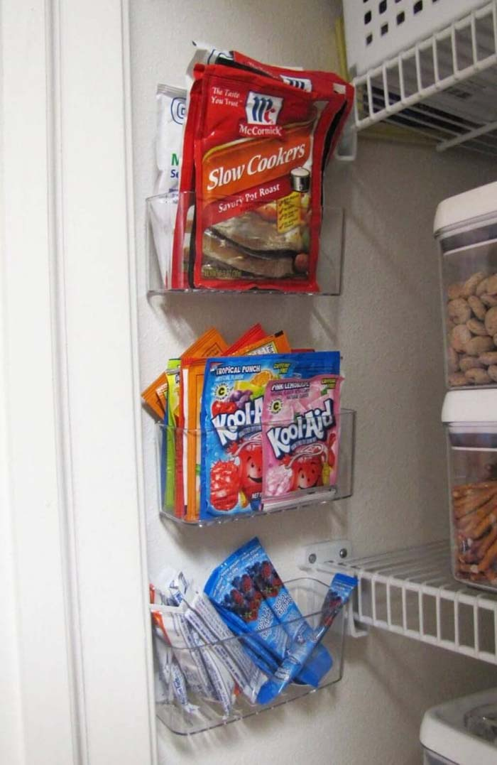 Clear Plastic Holders for Packets #pantry #storage #organization #decorhomeideas