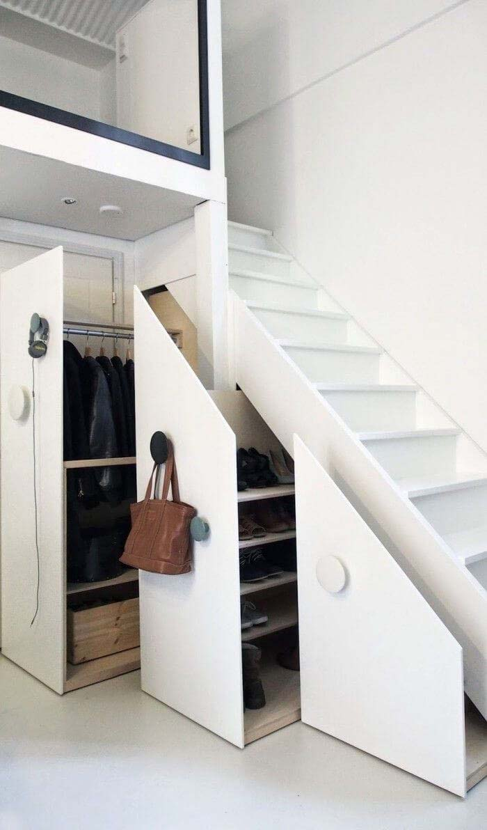 Clothing Closet Beneath a Stairway #hideaway #projects #decorhomeideas