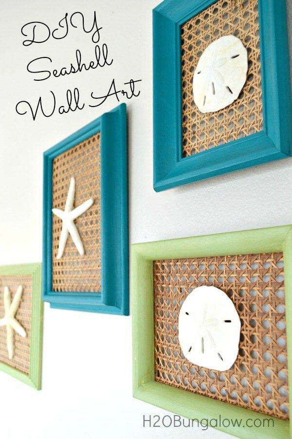 Coastal Seashell Wall Art #diy #seashell #decor #decorhomeideas