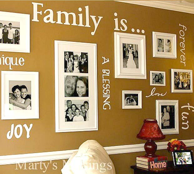 Combine Vinyl Decals and Family Photos #wall #gallery #decor #decorhomeideas
