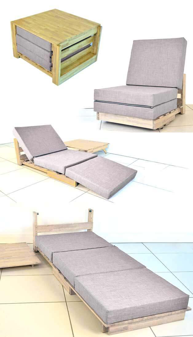 Convertible All-In-One Chair, Bed, and Table #hideaway #projects #decorhomeideas
