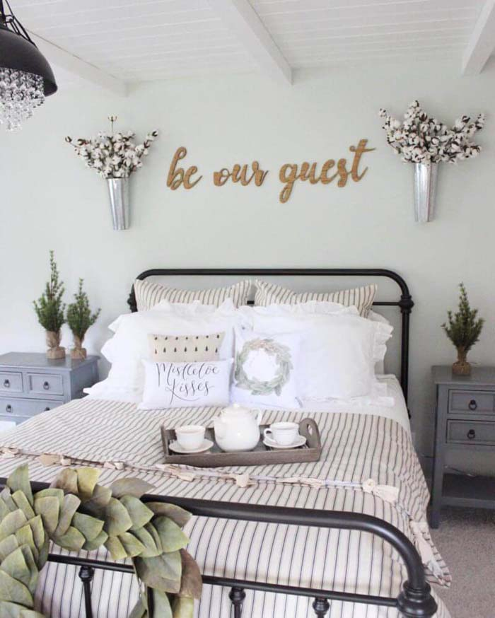 Cotton Bouquets to Greet the Guest #bedroom #wall #decor #decorhomeideas