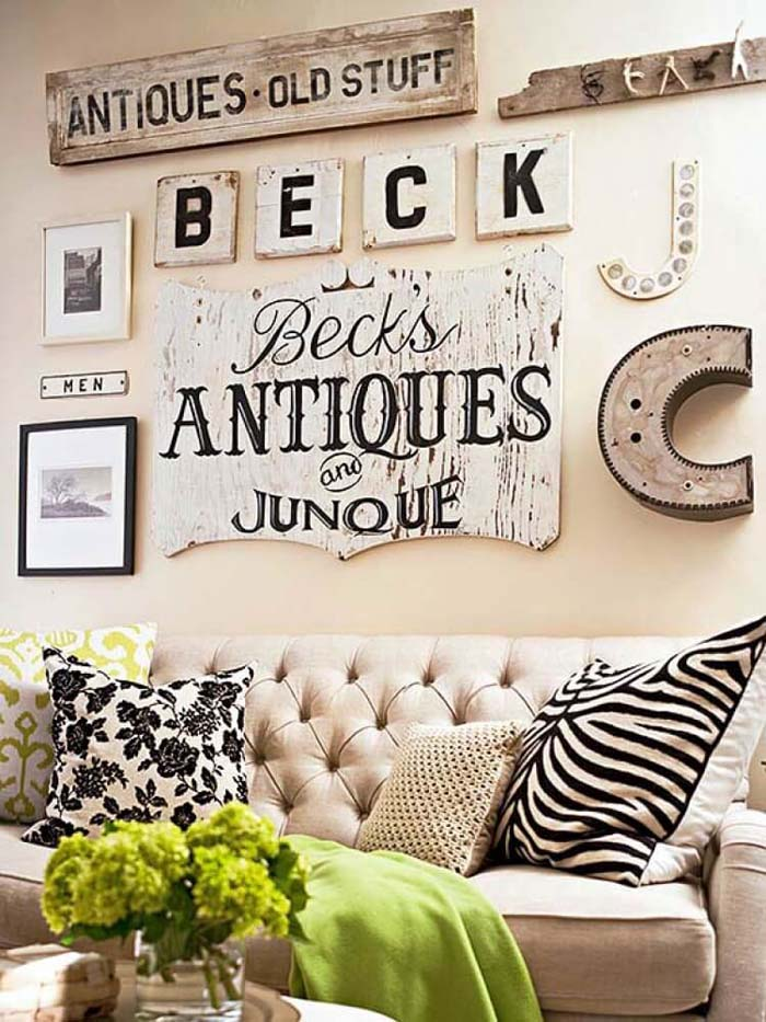 Cream Display with Antique Statement Pieces #wall #gallery #decor #decorhomeideas
