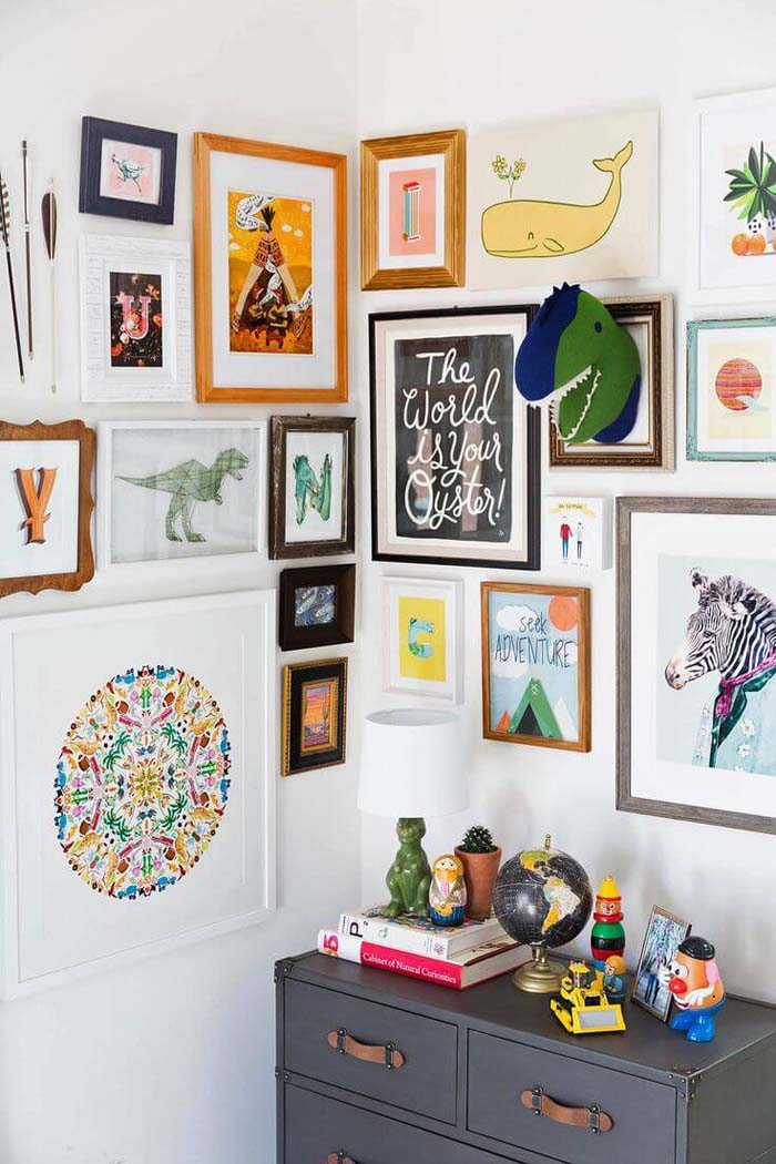 Curate Playful Prints for a Kids' Gallery #wall #gallery #decor #decorhomeideas