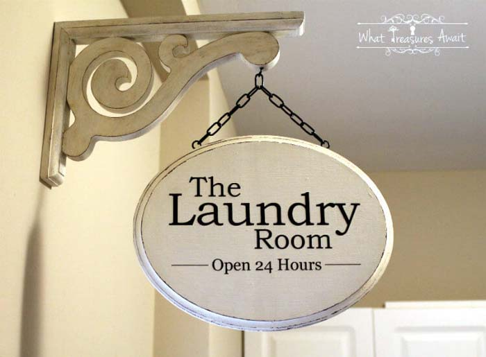 DIY Laundry Room Shop Sign #small #entryway #decor #decorhomeideas