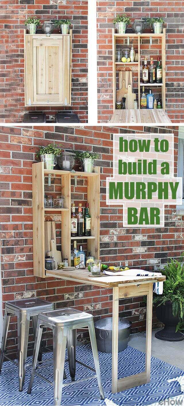 DIY Outdoor Murphy Bar and Table #hideaway #projects #decorhomeideas