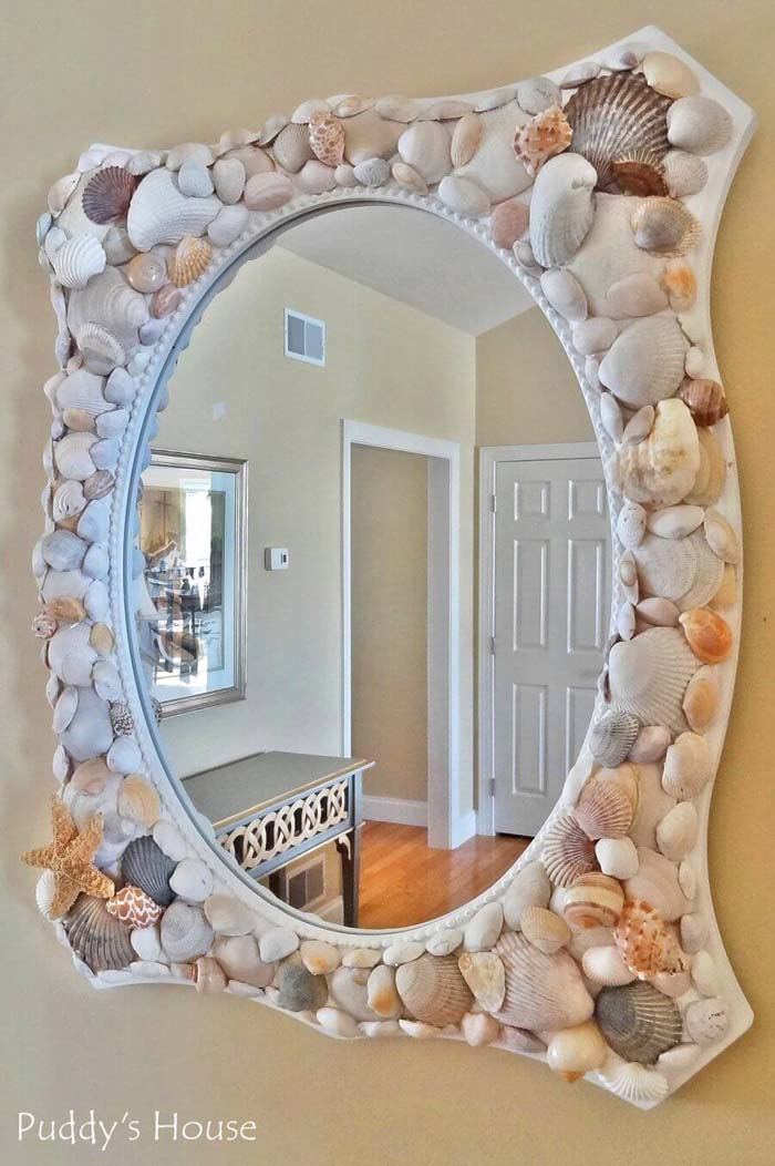 DIY Seashell Mirror #diy #seashell #decor #decorhomeideas