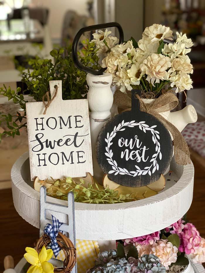 Farmhouse Tiered Tray Cutting Board Sign #farmhouse #sign #decorhomeideas