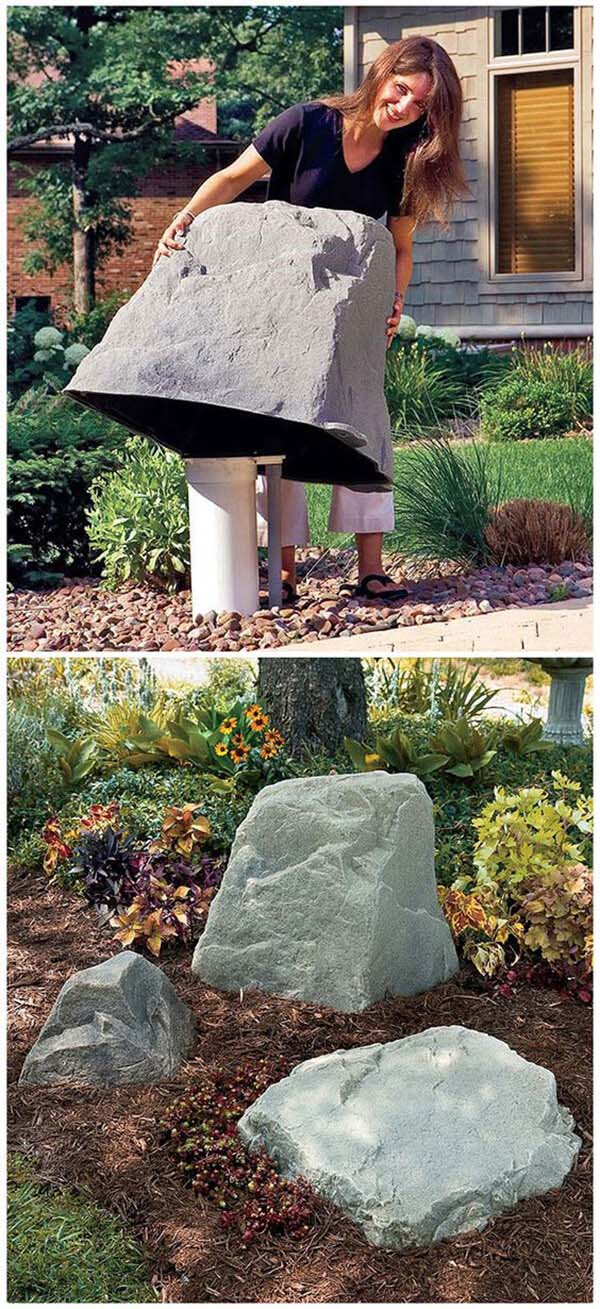 Faux Rocks Cover Pipes #outdoor #hiding #ideas #decorhomeideas