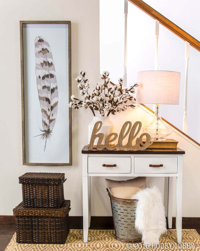 Florals, Feather, and a Big Hello #small #entryway #decor #decorhomeideas