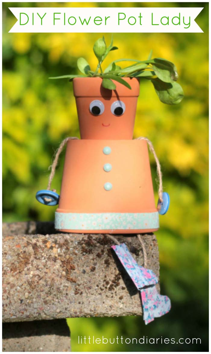 DIY Flower Pot Lady #flowerpot #clay #garden #decorhomeideas