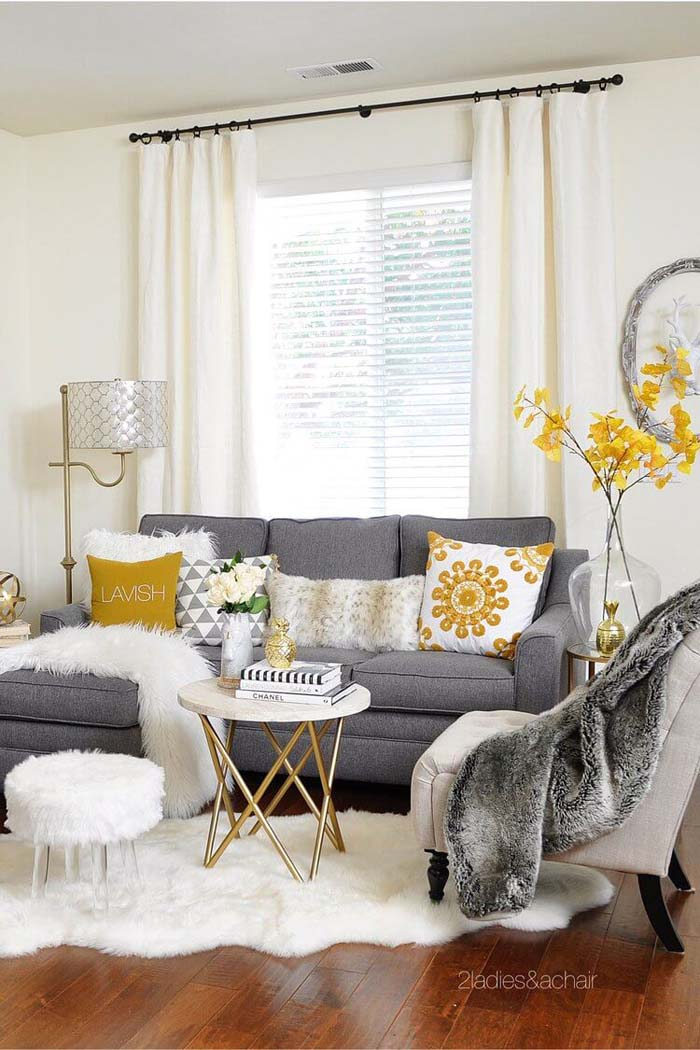 Fluffy White Accents Lighten the Room #livingroom #design #decorhomeideas