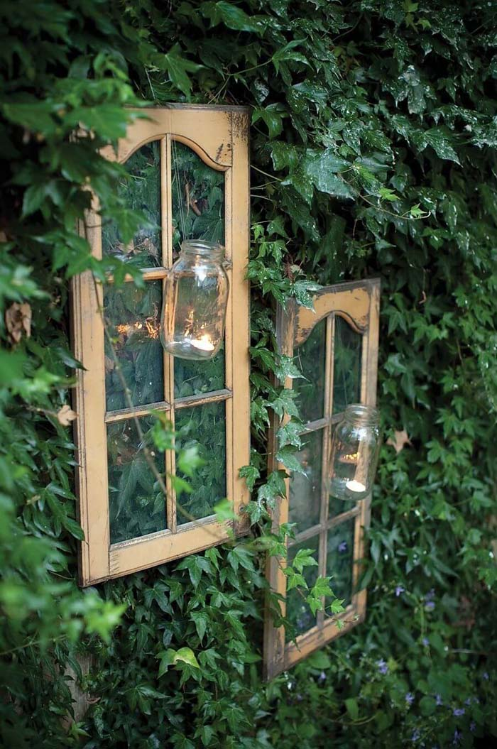 Frames with Mason Jar Tea Light Holders #old #window #garden #decorhomeideas