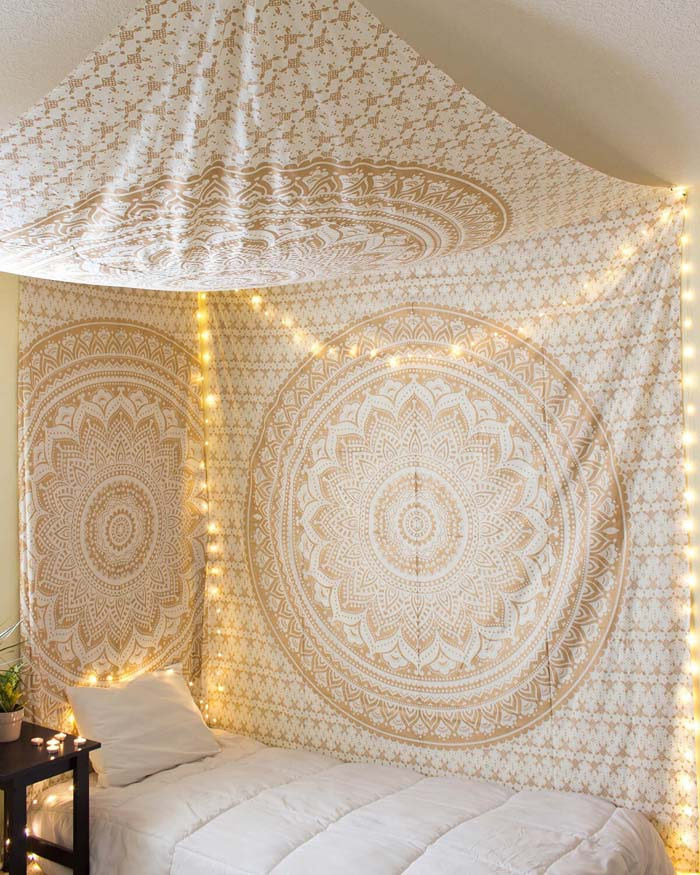 Gold Glimmer Tapestry #bedroom #wall #decor #decorhomeideas