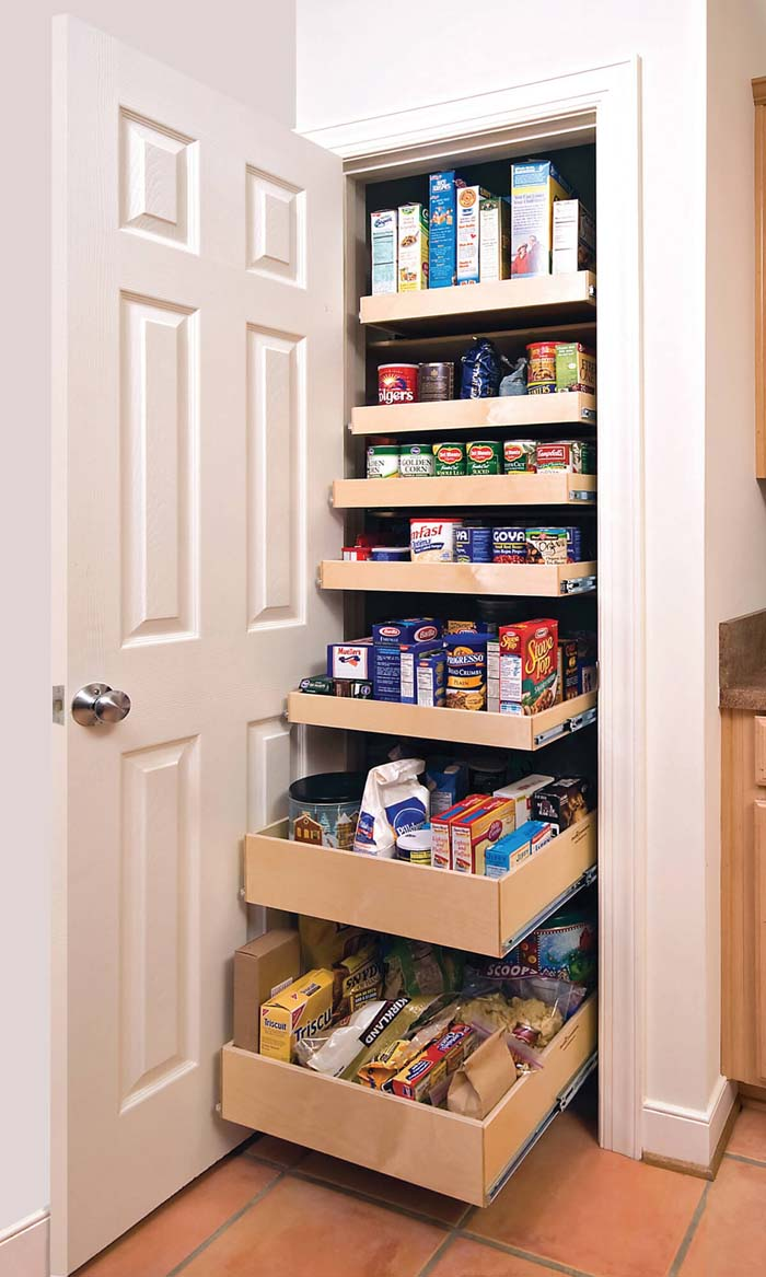 Graduated Sliding Drawers in the Pantry #pantry #storage #organization #decorhomeideas