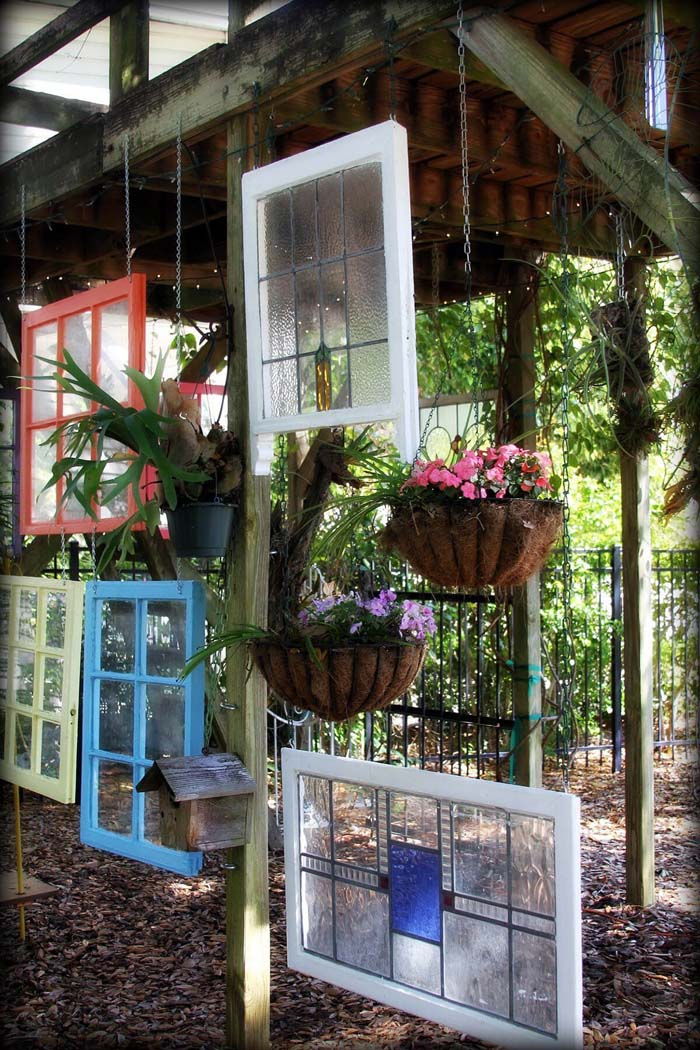 Hang Assorted Frames Under your Deck #old #window #garden #decorhomeideas