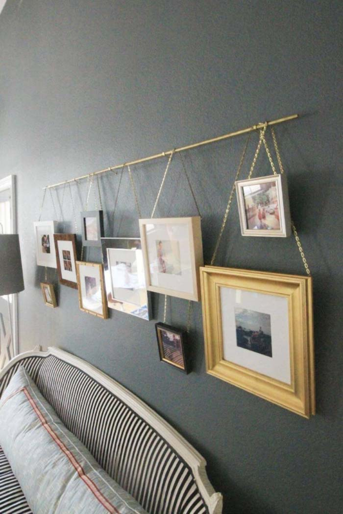Hang Multiple Frames at Different Heights #wall #gallery #decor #decorhomeideas