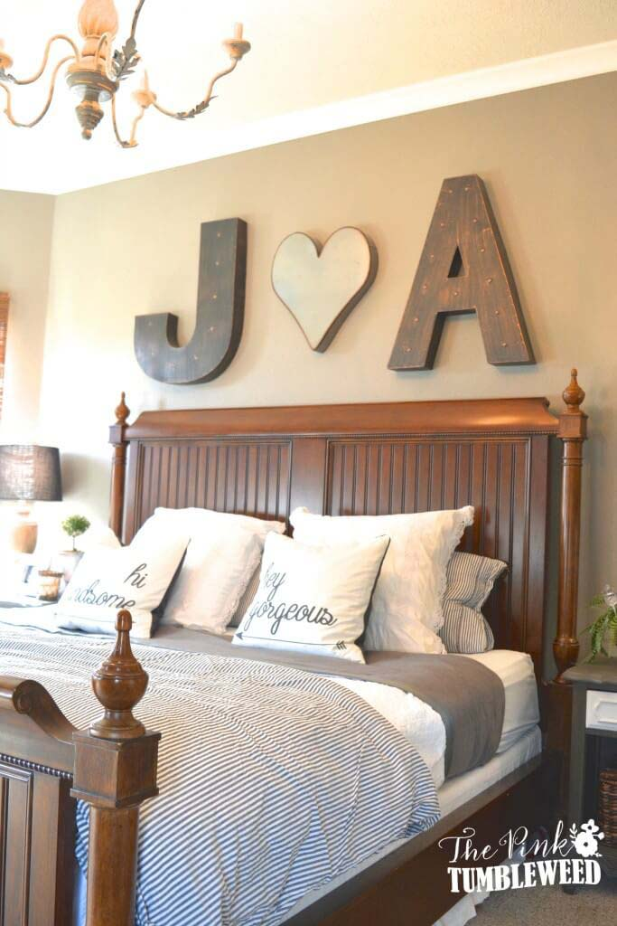 Heart Between His Initial and Her Initial #bedroom #wall #decor #decorhomeideas