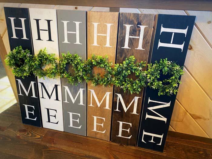 Home Sign with Wreath #farmhouse #sign #decorhomeideas