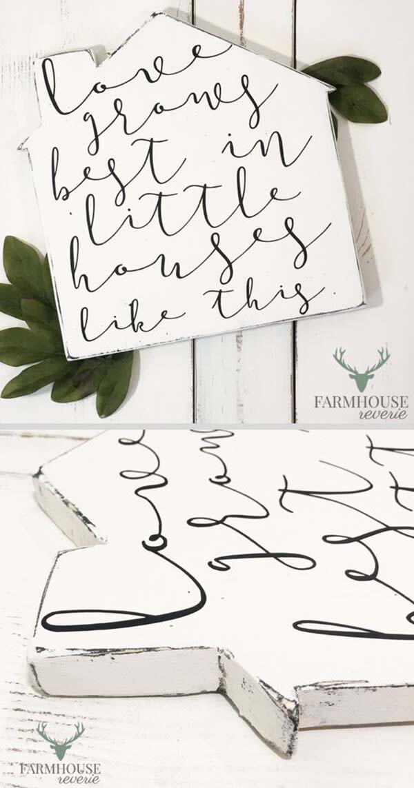 House Shaped Sign with Sweet Saying #farmhouse #sign #decorhomeideas