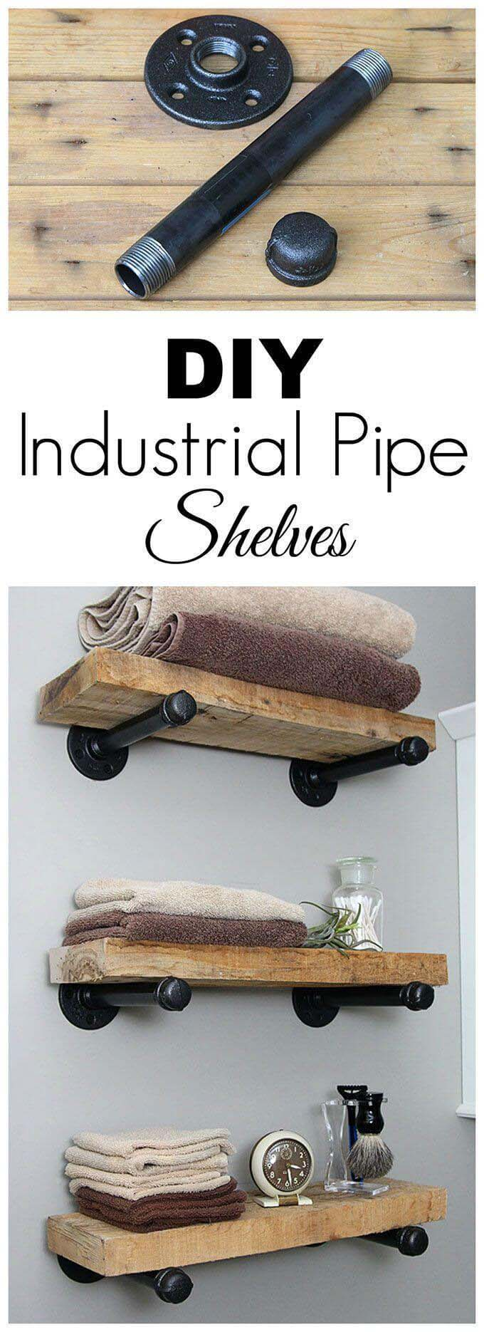 DIY Industrial Pipe Shelves #reclaimed #wood #projects #decorhomeideas