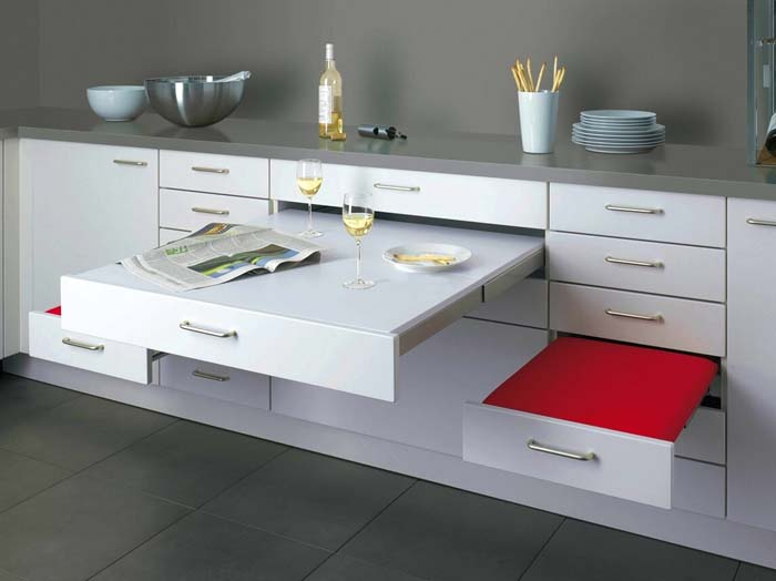 Kitchen Cabinetry with Built-In Table and Benches #hideaway #projects #decorhomeideas