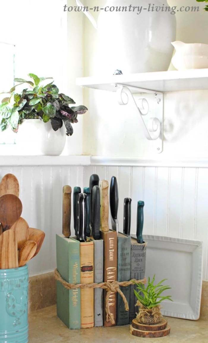 DIY Knife Holder Made Of Old Books #farmhouse #vintage #storage #decorhomeideas