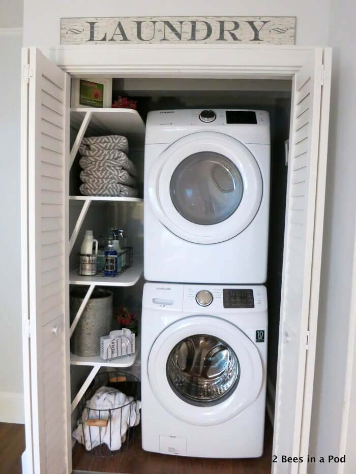 Laundry Closet Makeover #laundry #vintage #decor #decorhomeideas