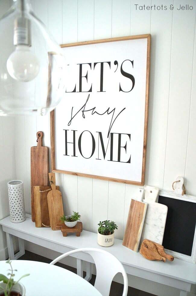 """""""Let's Stay Home"""" Sign for the Kitchen #farmhouse #sign #decorhomeideas"""