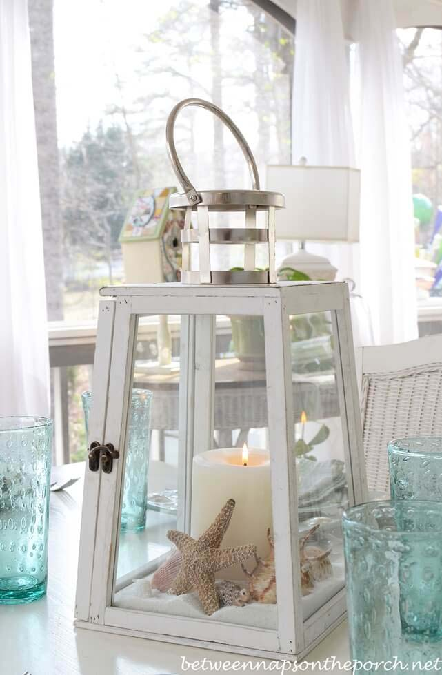 Lighthouse Lantern Centerpiece #diy #seashell #decor #decorhomeideas