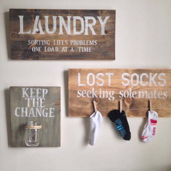 Lost Sock and Change Laundry Room Organizers #laundry #vintage #decor #decorhomeideas