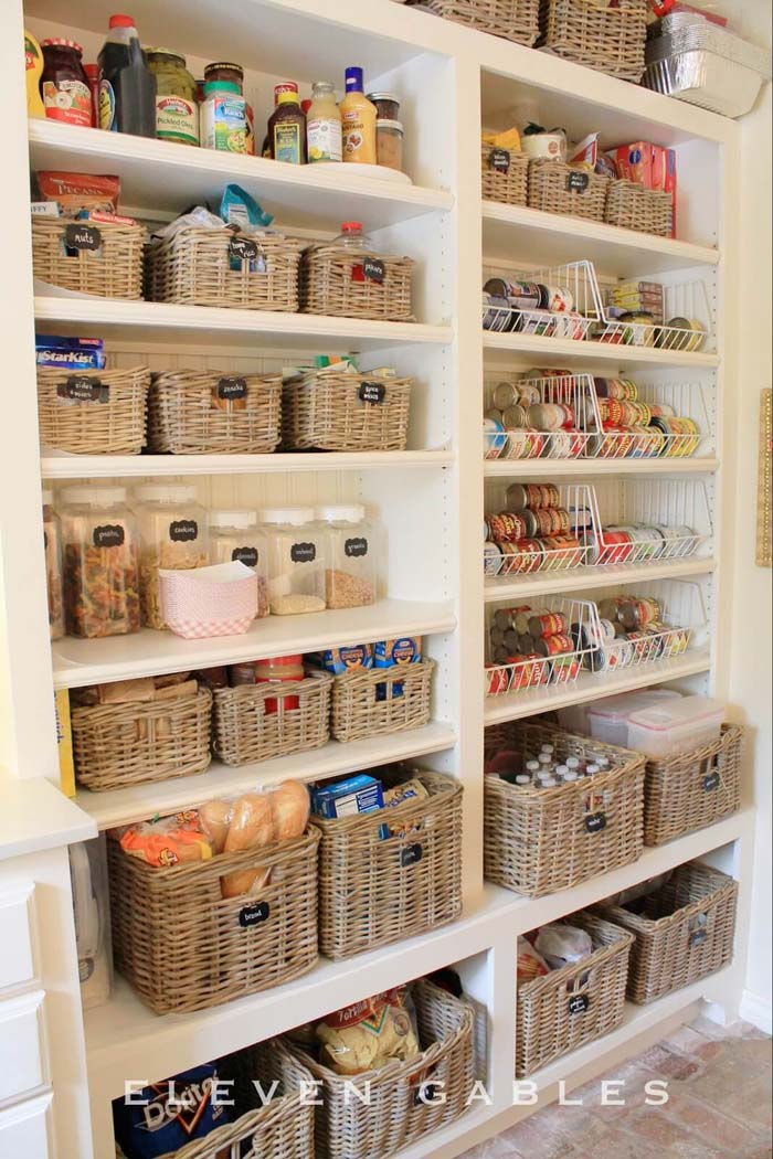 Lots of Square Baskets on Shelves #pantry #storage #organization #decorhomeideas