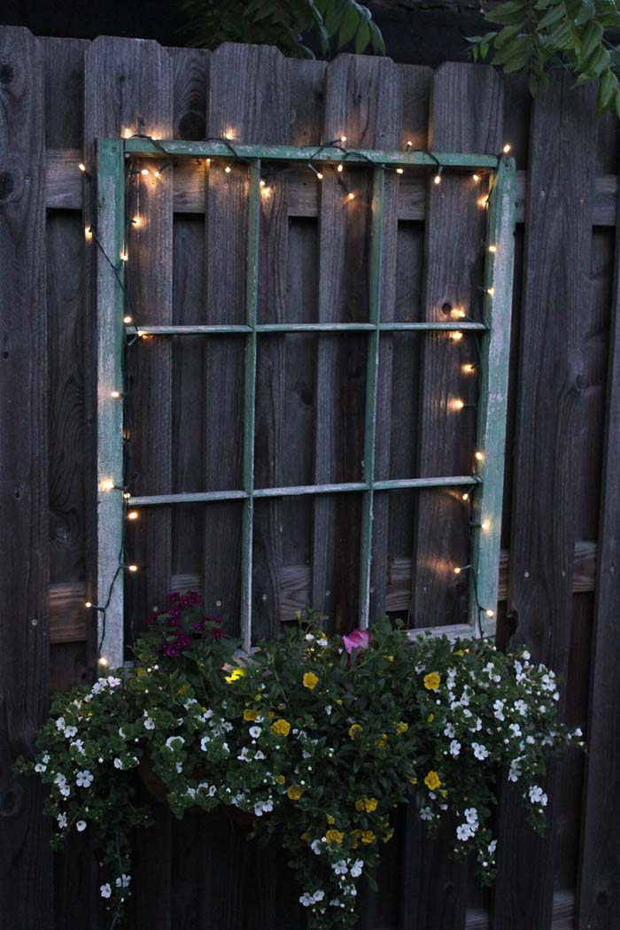 Magical Fairy Lights and Hanging Flowers #old #window #garden #decorhomeideas