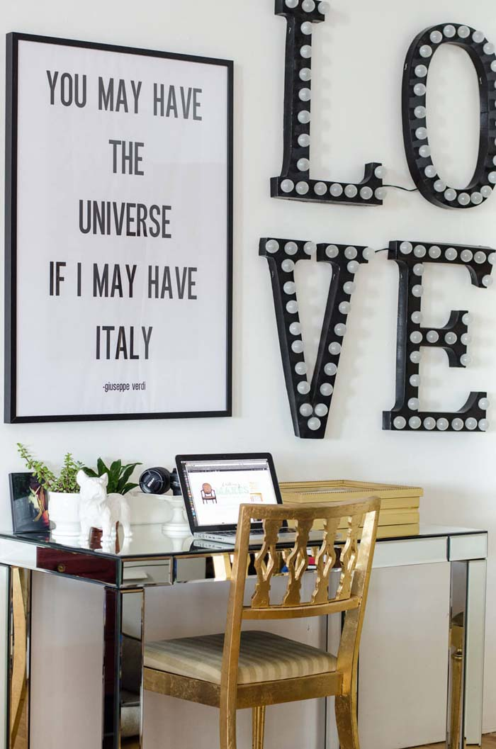 Marquee Letters Light Up the Room #wall #gallery #decor #decorhomeideas