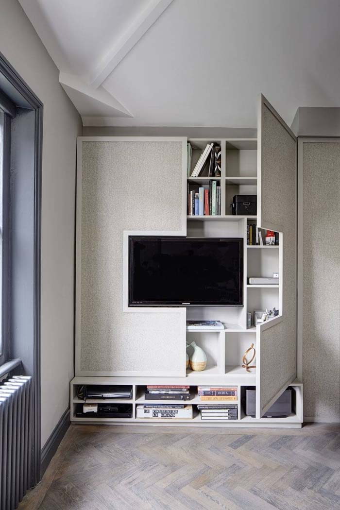 Media Console with Hideaway Shelves #hideaway #projects #decorhomeideas