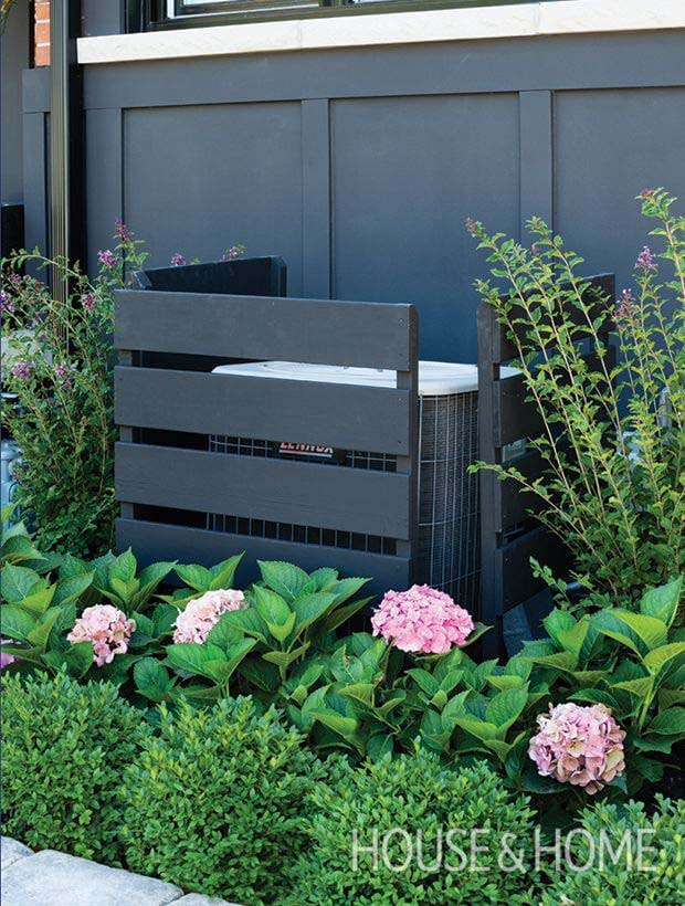 Modern Dark Stained  AC Unit Box #outdoor #hiding #ideas #decorhomeideas
