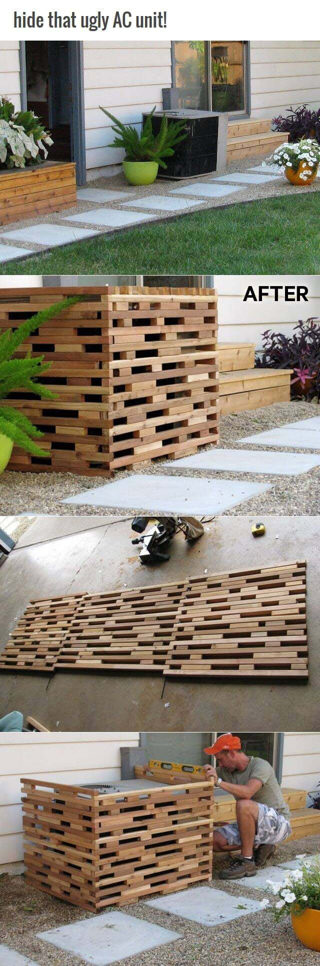 Modern Design Wooden AC Unit Screen #outdoor #hiding #ideas #decorhomeideas